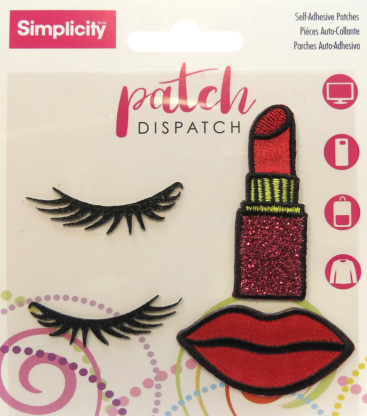 Simplicity® Embroidered Self-Adhesive Patches-Lipstick-4 Pack