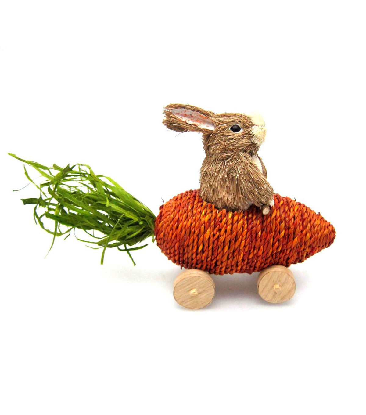 Easter Grass Bunny In Carrot Car