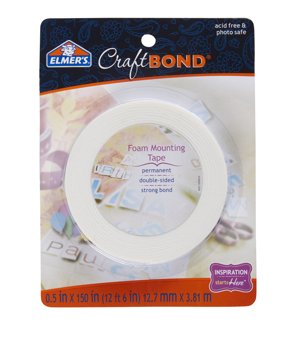 Elmer\u0027s Foam Mounting Tape Permanent-.5\u0022X150\u0022