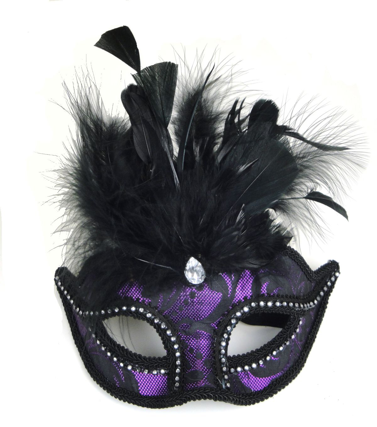 Maker's Halloween Brocade Mask With Feathers-Black & Purple