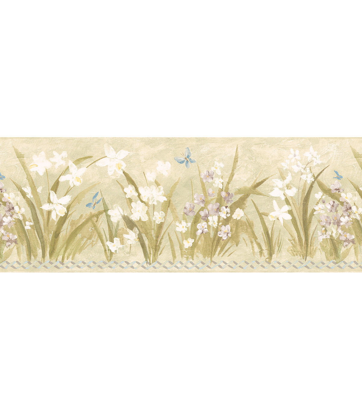 High Grass Floral Motif Wallpaper Border, Green Sample
