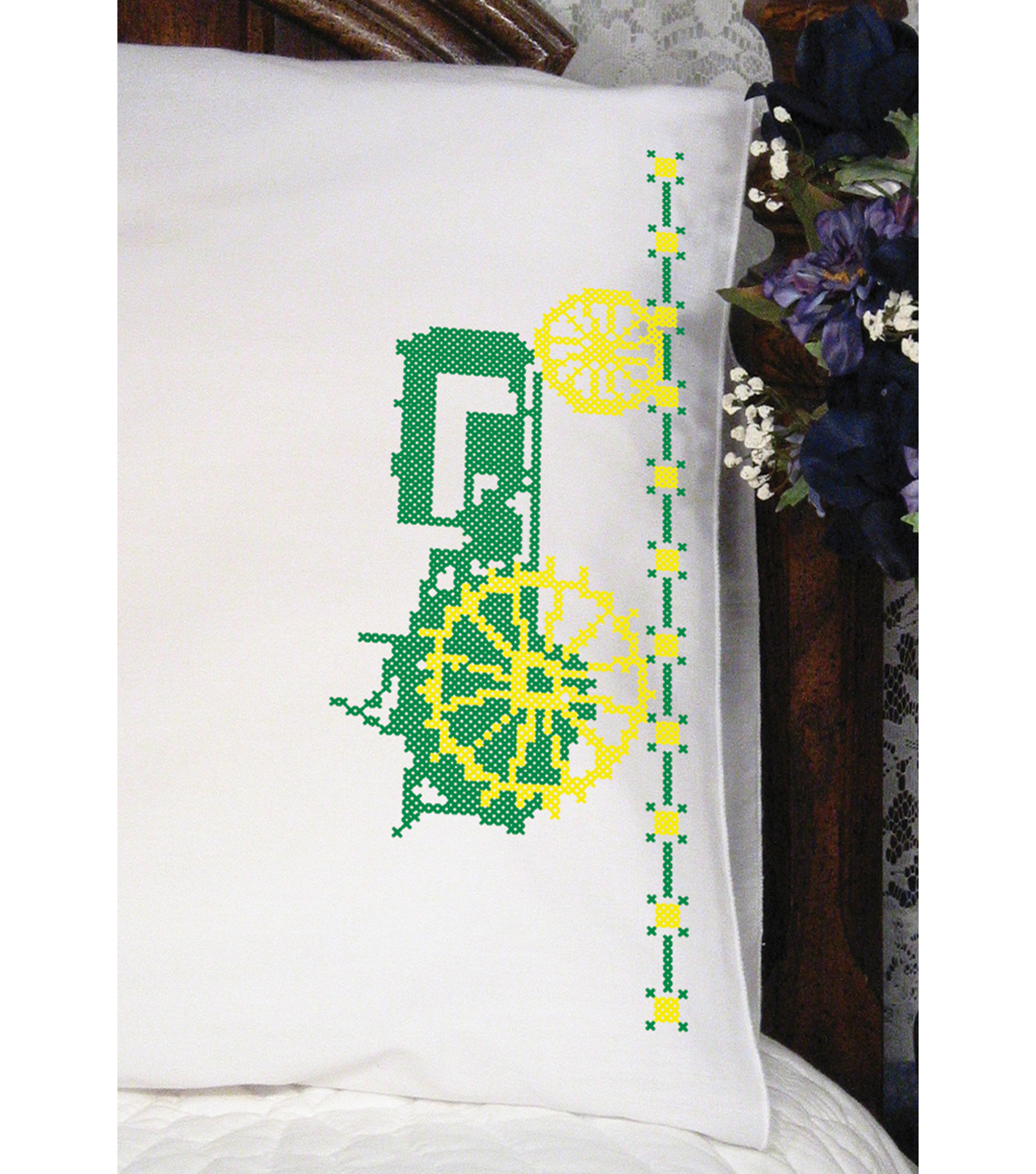 Fairway Stamped Perle Edge Pillowcase Green Tractor