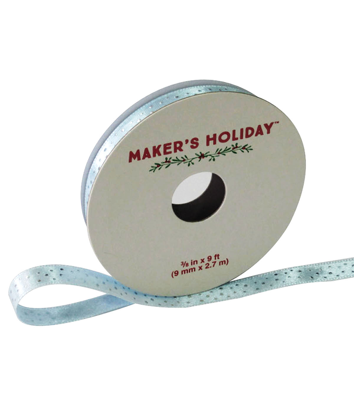 Maker\u0027s Holiday Dot Ribbon 3/8\u0027\u0027x9\u0027-Silver And Ice Blue