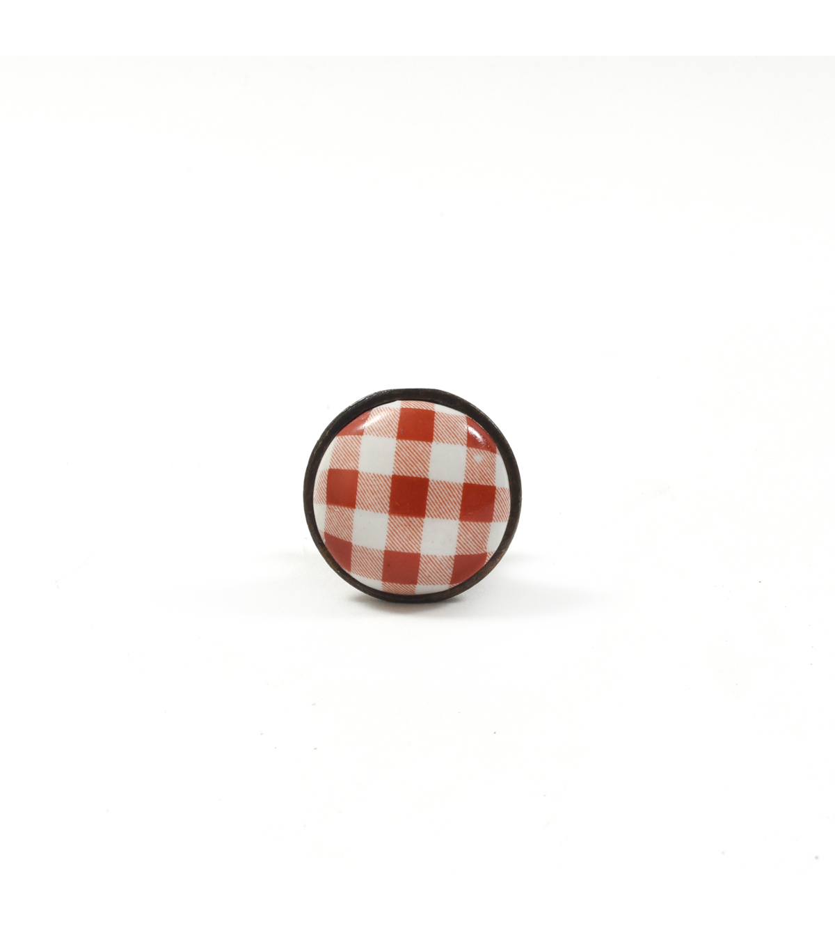 Dritz Home Ceramic and Metal Gingham Knob-Red