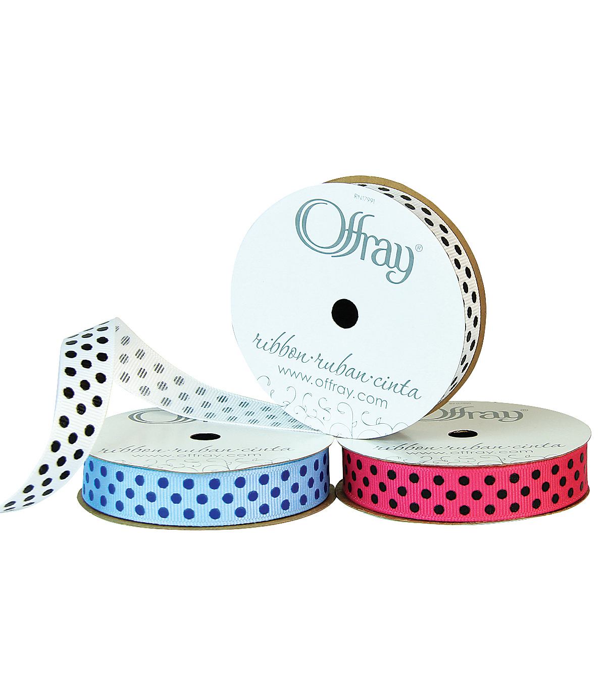 "Offray 5/8""x9' Clear Confetti Dots Grosgrain Ribbon"