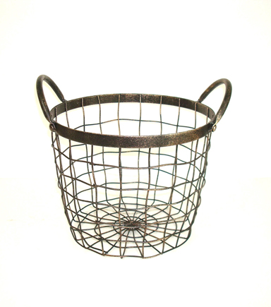 Bloom Room Medium Round Metal Wire Basket With Handles
