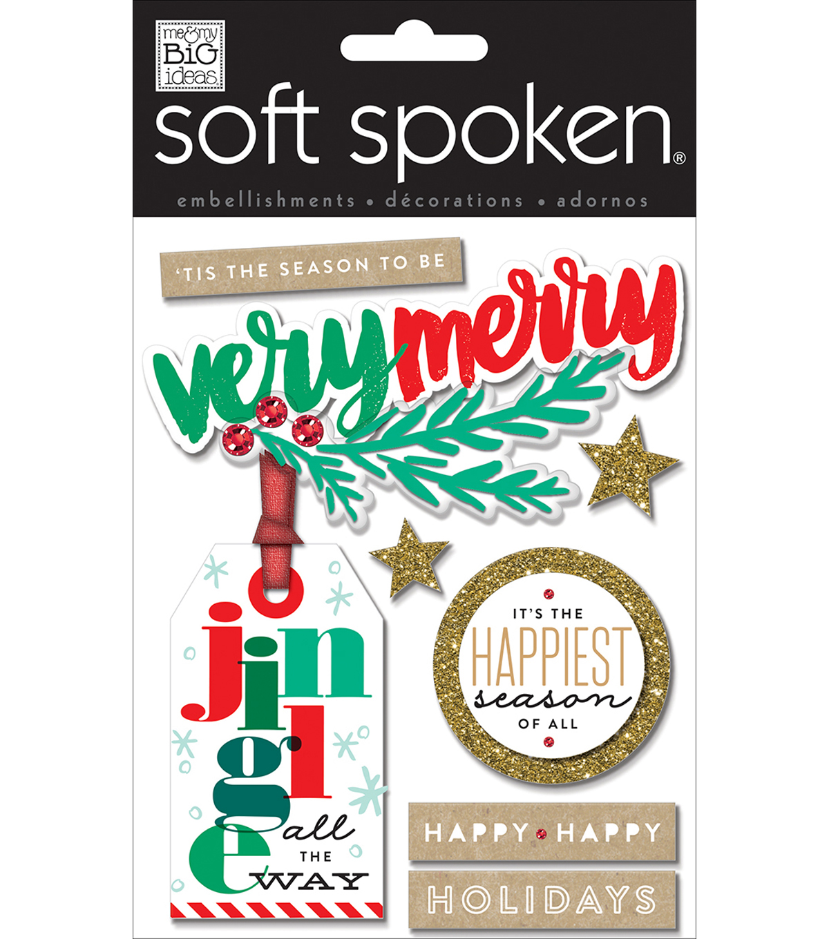 Soft Spoken Themed Embellishments-Very Merry