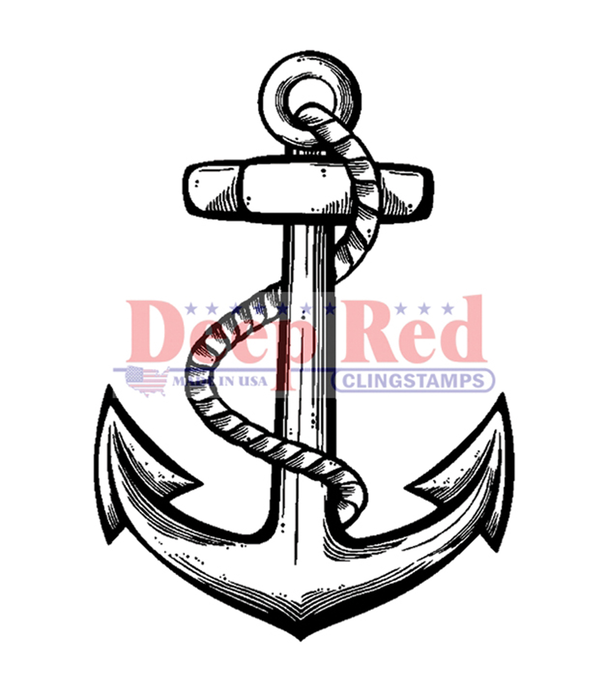 "Deep Red Cling Stamp 1.5""X2""-Anchor"