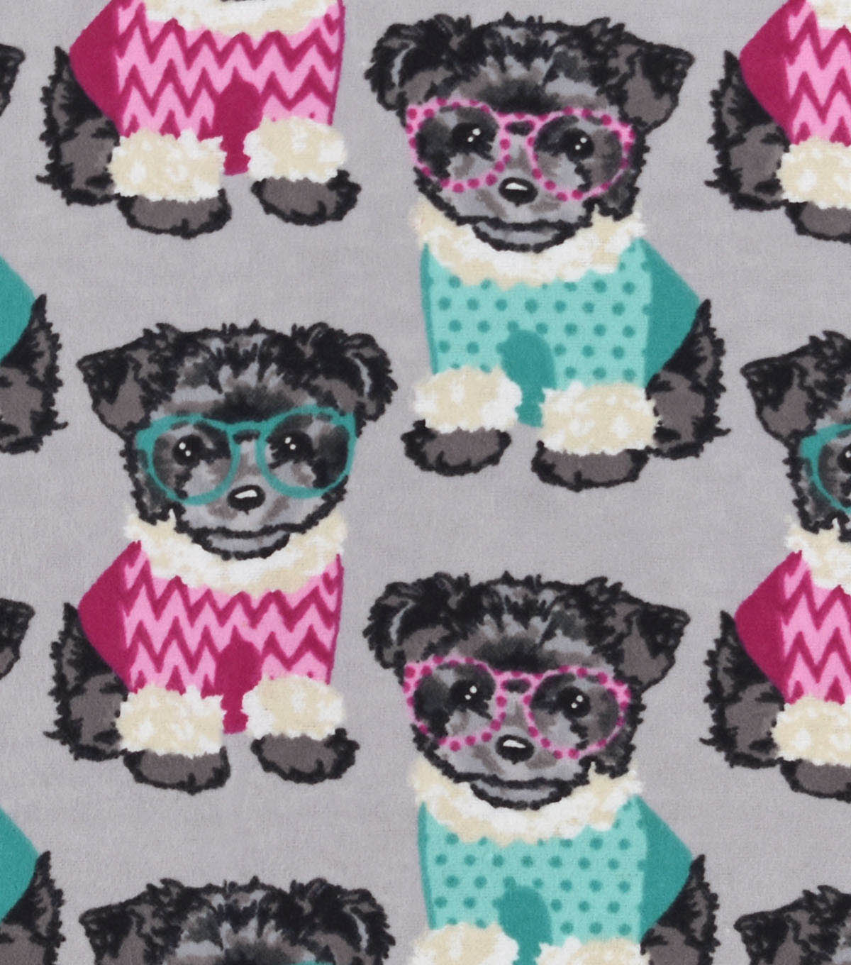 Snuggle Flannel Fabric 42\u0022-Little Pups In Sweaters