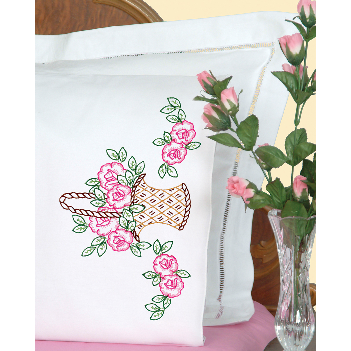 Jack Dempsey Stamped Pillowcases With White Perle Edge Basket Of Flowers