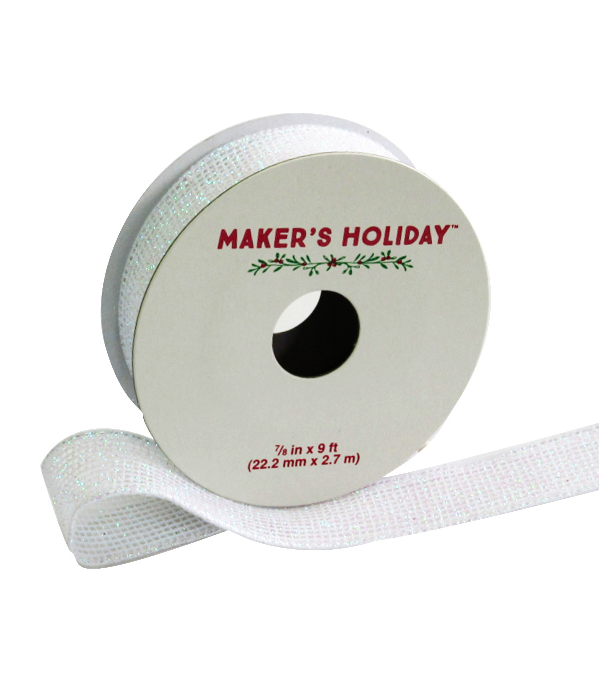 Maker's Holiday Mesh Wired Ribbon With Glitter 7/8''x9'-White