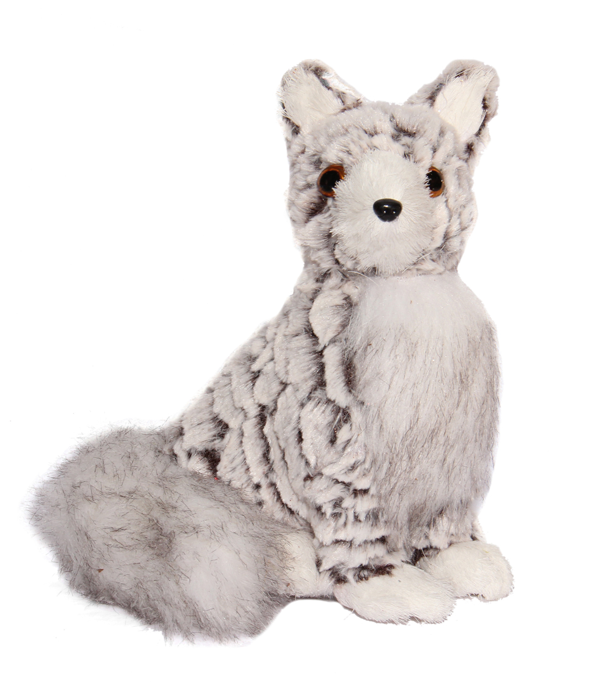 Blooming Holiday Fox With Faux Fur-Gray