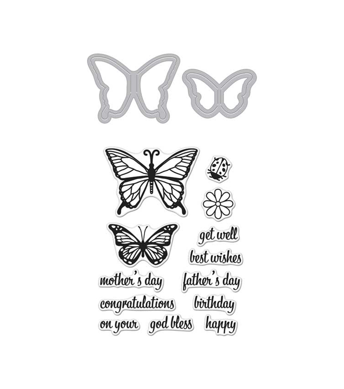 Hero Arts® Stamp & Cut-Butterfly Pair