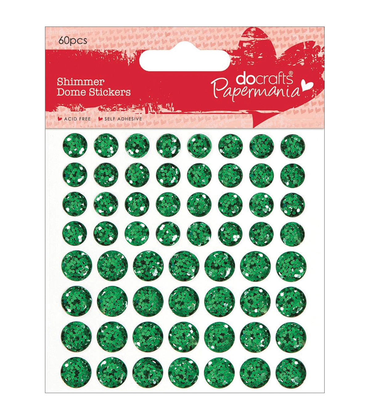 Papermania Shimmer Dome Bling Stickers 60/Pkg-Green