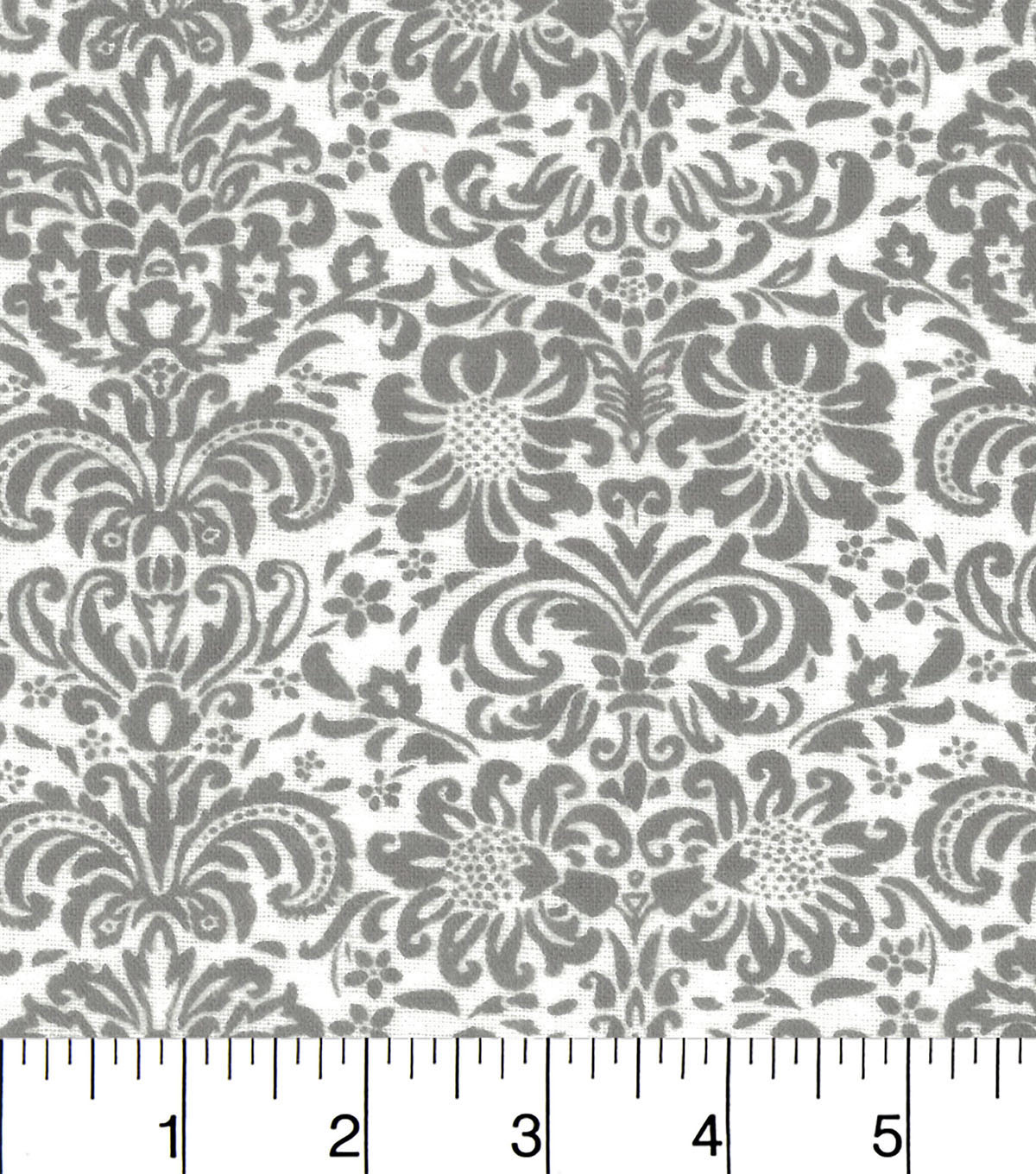 "Snuggle Flannel Fabric 42""-Gray Damask On White"