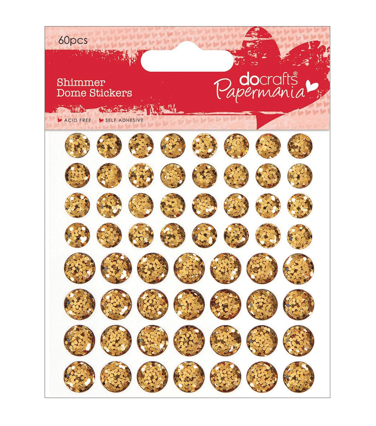 Papermania Shimmer Dome Bling Stickers 60/Pkg-Gold