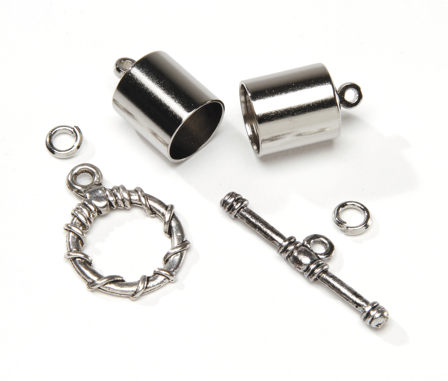 Kumihimo Finding Kit Silver 10Mm Endcaps