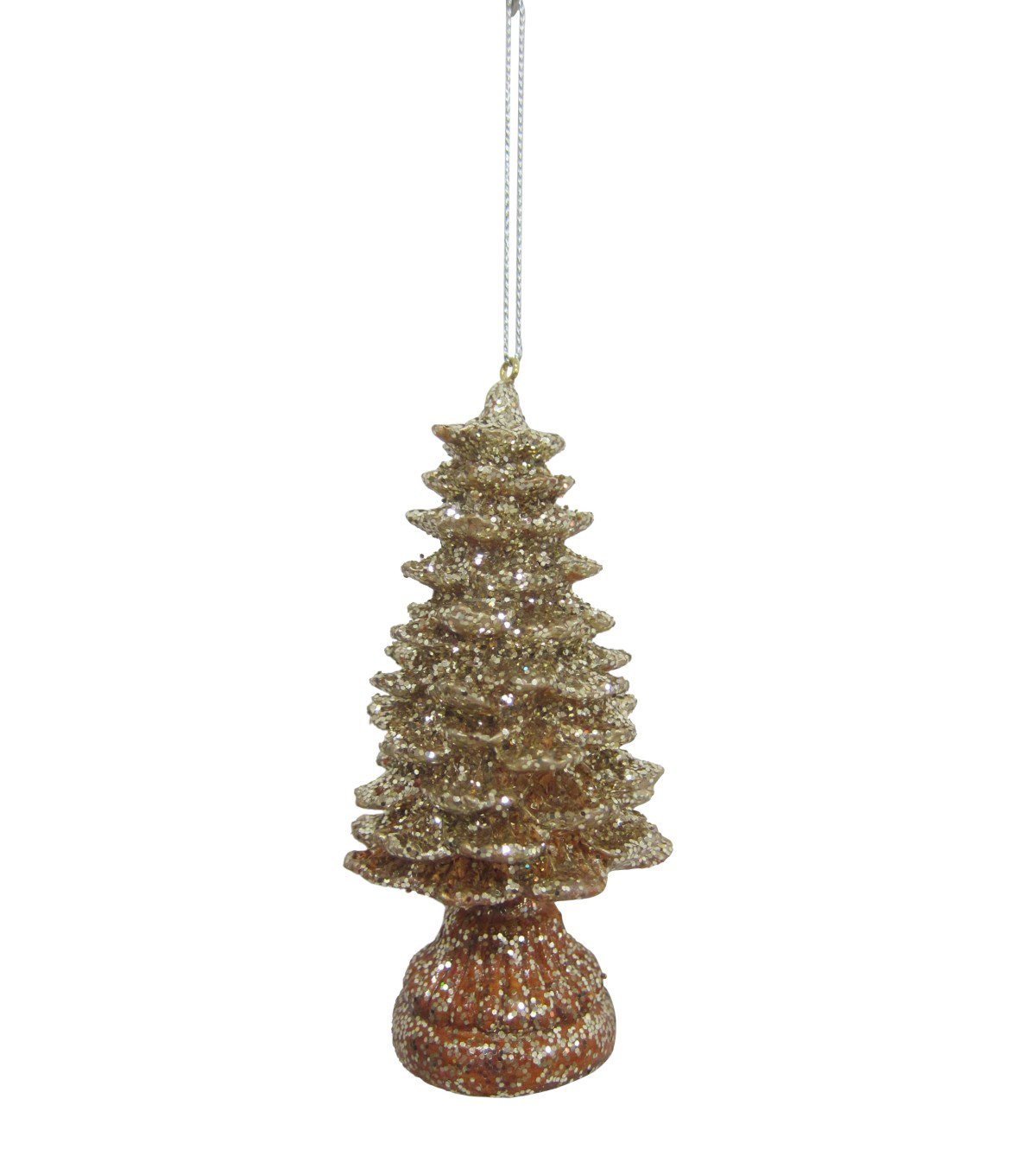 Maker\u0027s Holiday Christmas Glistening Pines Glitter Tree Ornament-Gold