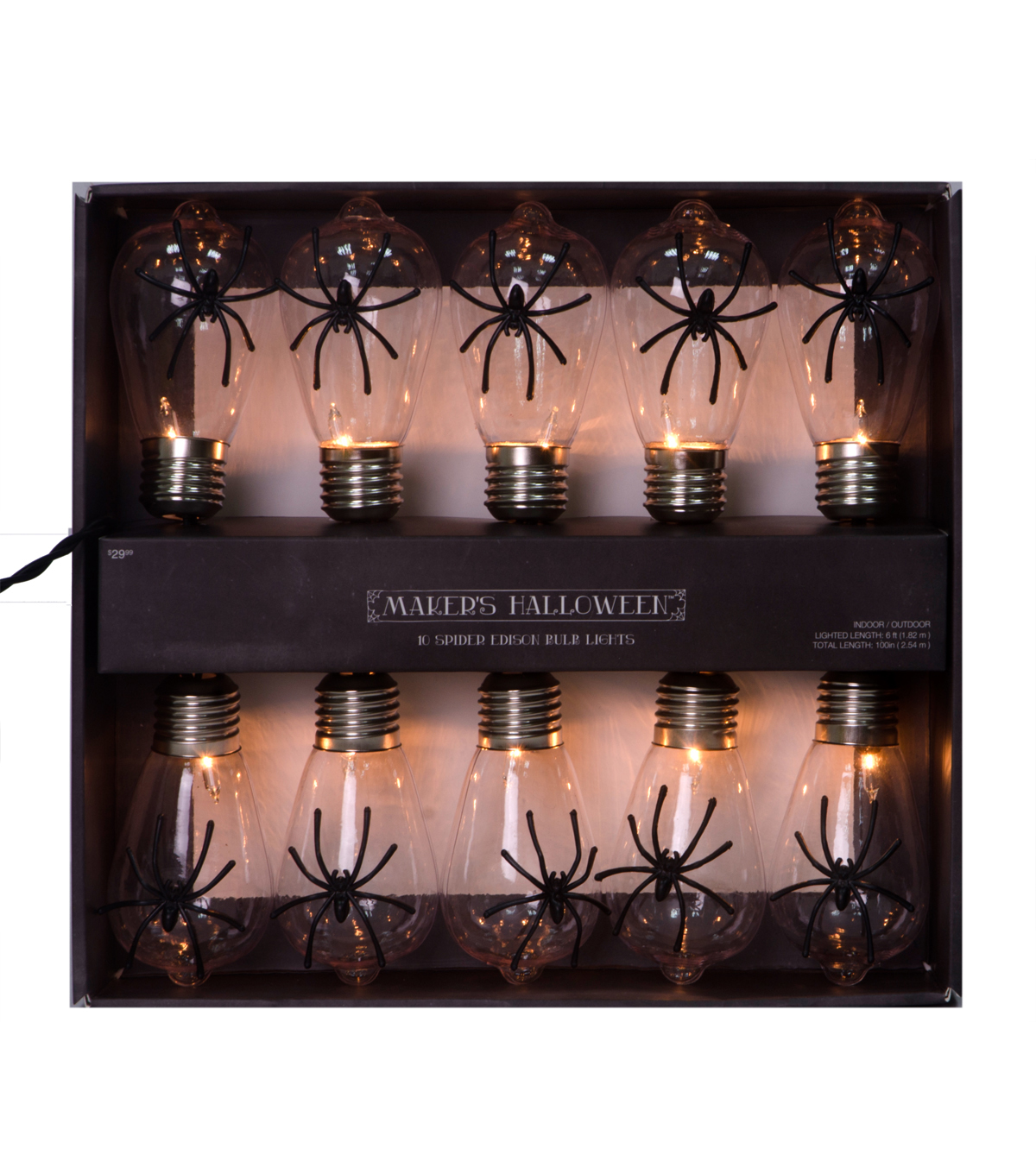 Maker\u0027s Halloween 10 Count Edison Bulb String Lights-Spider