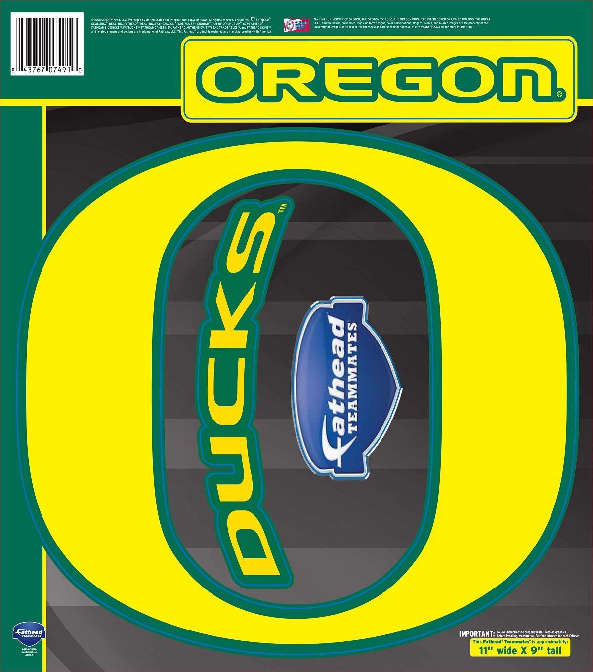 University Of Oregon Fat Head Wall Decal-Logo