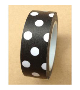 Love My Tapes Washi Tape 15mmX10m-Black W/White Polka Dots