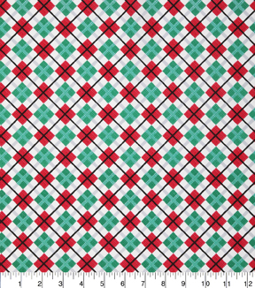 Christmas Cotton Fabric 43\u0022-Diamond Plaid