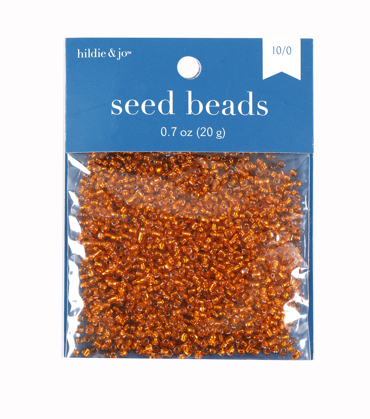 Glass Rocaille Seed Beads, Orange, 20 grams