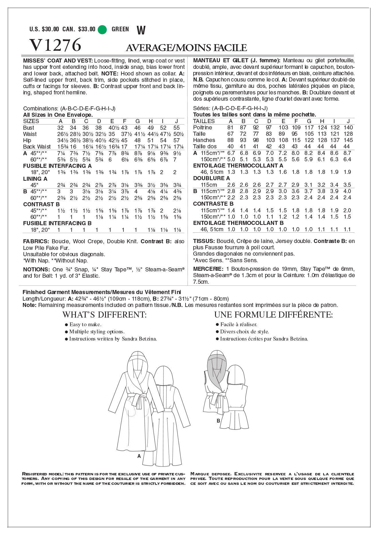 Mccall Pattern V1276 All Sizes -Vogue Pattern