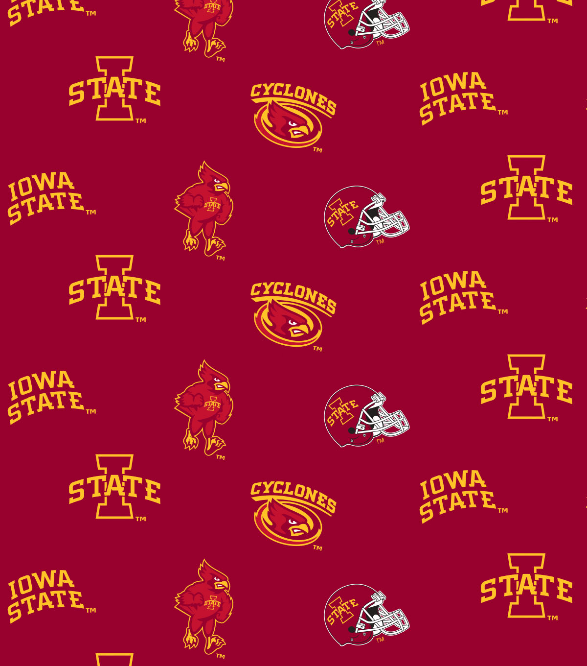 Iowa State University Cyclones Cotton Fabric 44\u0022-All Over