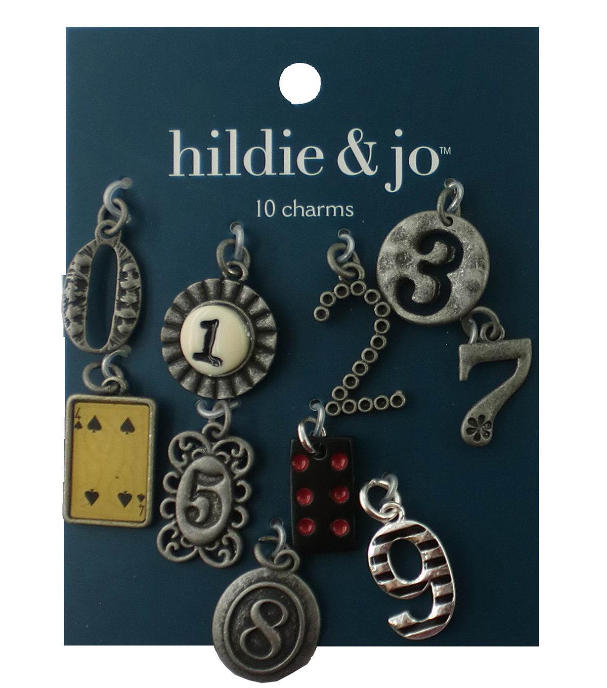hildie & jo™ 10 Pack 0.75''x0.5'' Numbers Antique Silver Charms