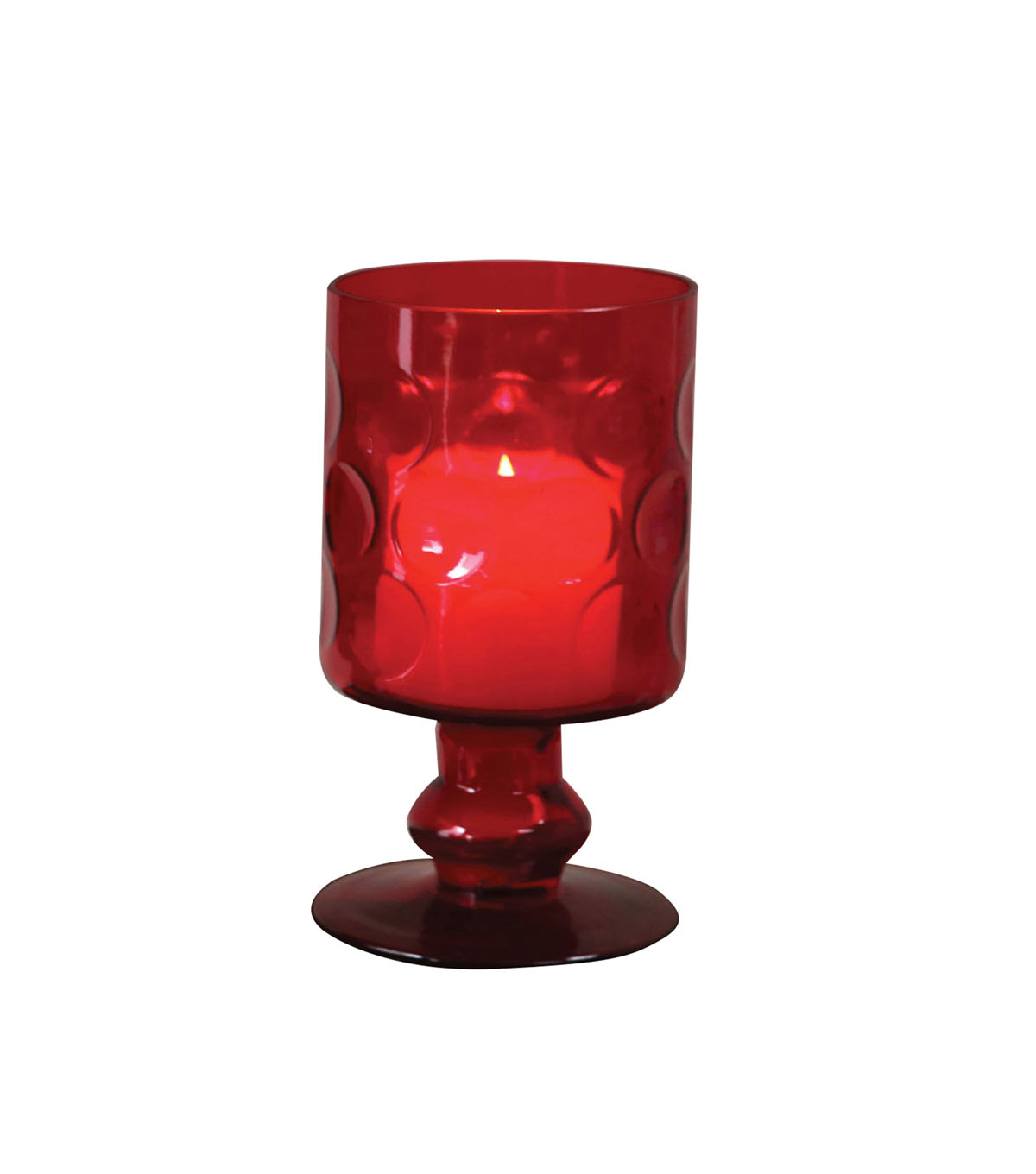 3R Studios Christmas Glass Footed Hurricane Pillar Candle Holder-Red