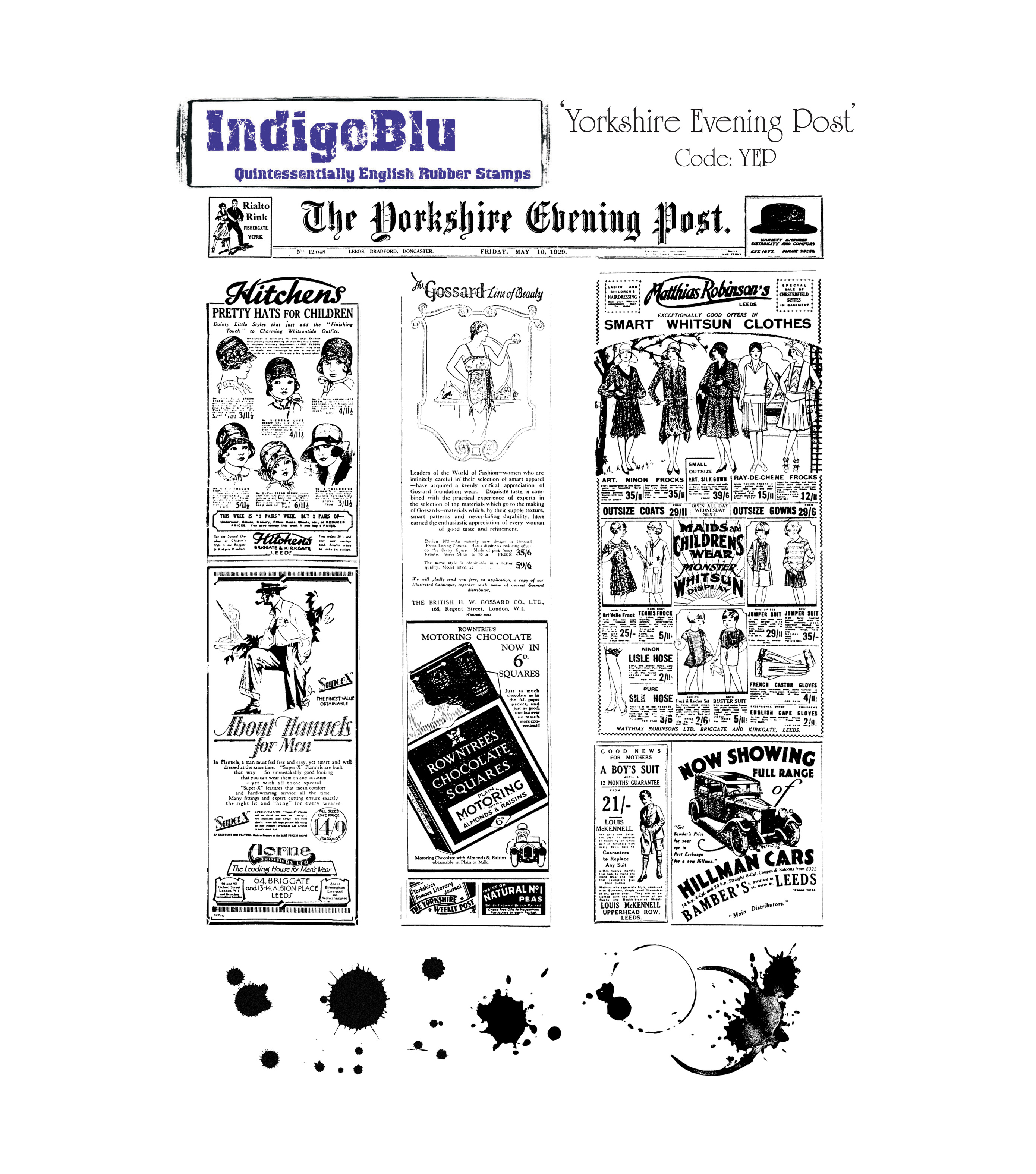 IndigoBlu Cling Mounted Stamp Yorkshire Evening Post