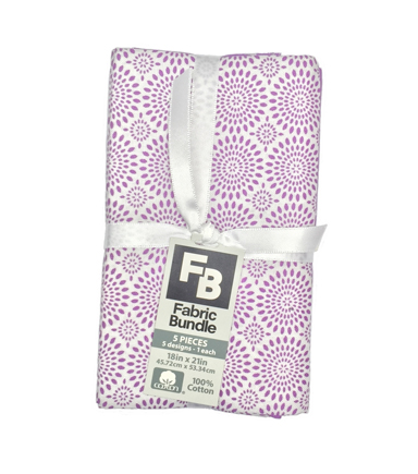 Fat Quarter Bundle Cotton Fabric 5-Pieces 18\u0027\u0027-Floral on Purple