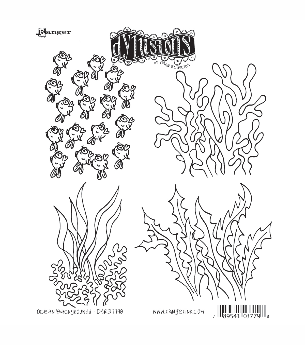 Dyan Reaveley\u0027s Dylusions Cling Stamp Collection-Ocean Backgrounds