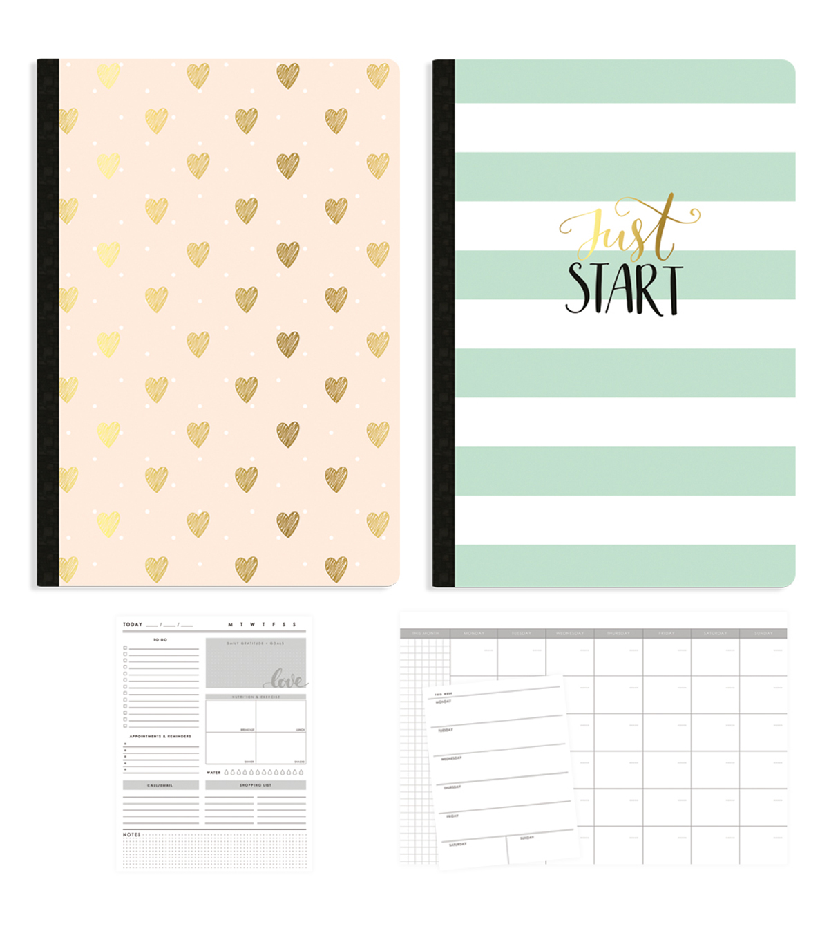Webster\u0027s Pages Color Crush 2 Pack Composition Notebook-Just Start