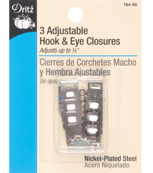 Dritz Adjstble Hook & Eyes 1-1/2\u0022 3/Pkg-Nickel