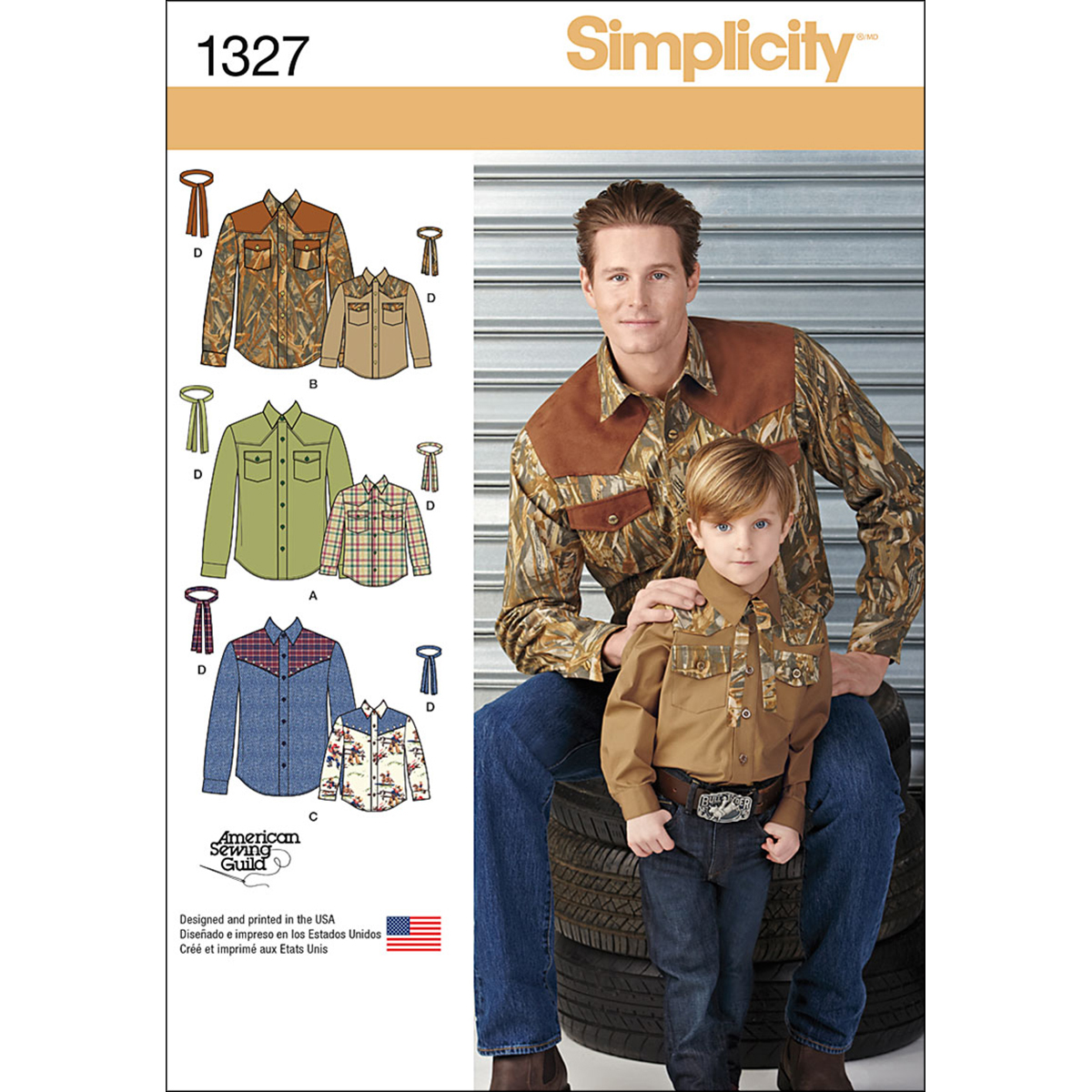 Simplicity Pattern 1327A S - L / S -Men Boy Tops Vests