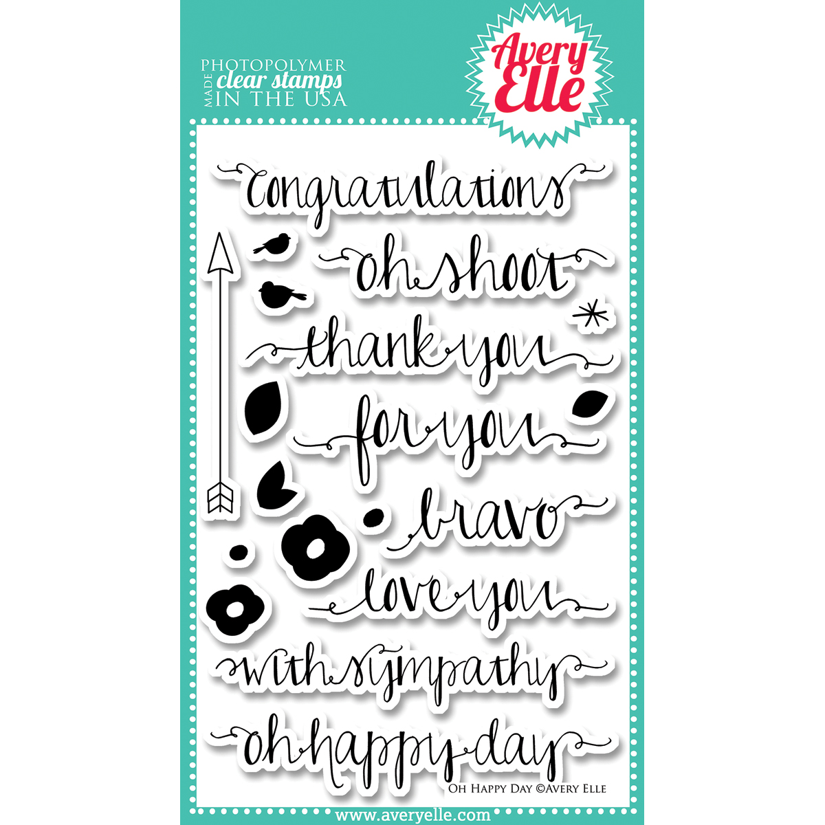Avery Elle Clear Stamp Set Oh Happy Day