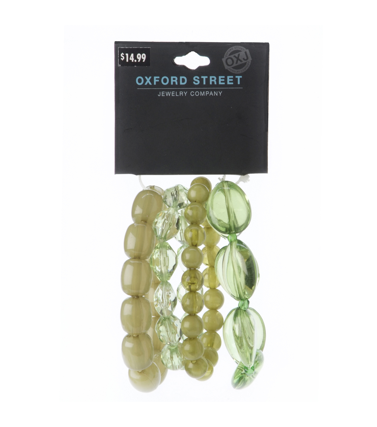 Oxford Street Jewelry Co. Collection of 4 Green Multi Bracelets
