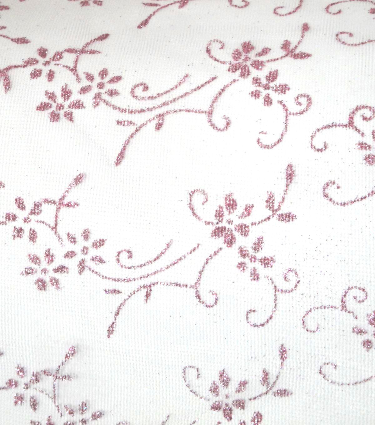 Glitterbug Princess Floral Sheer Glitter Fabric-Light Pink