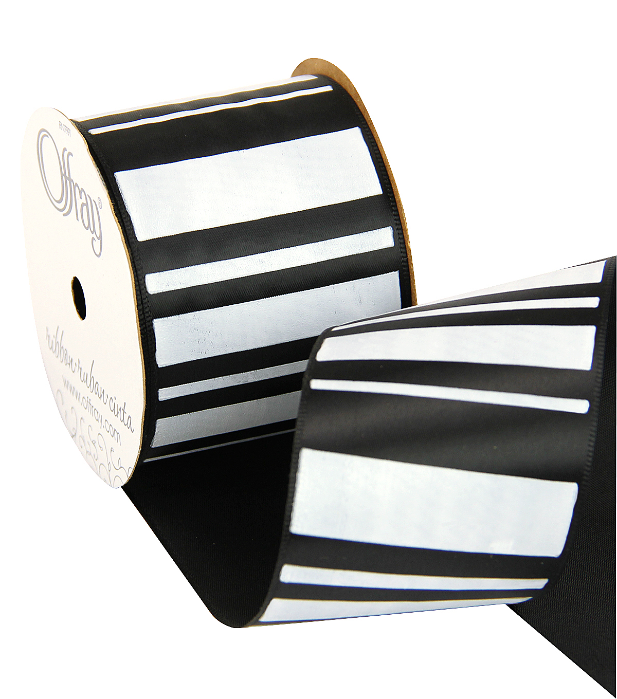 2 And One Qtr Geo Black Stripe Ribbon