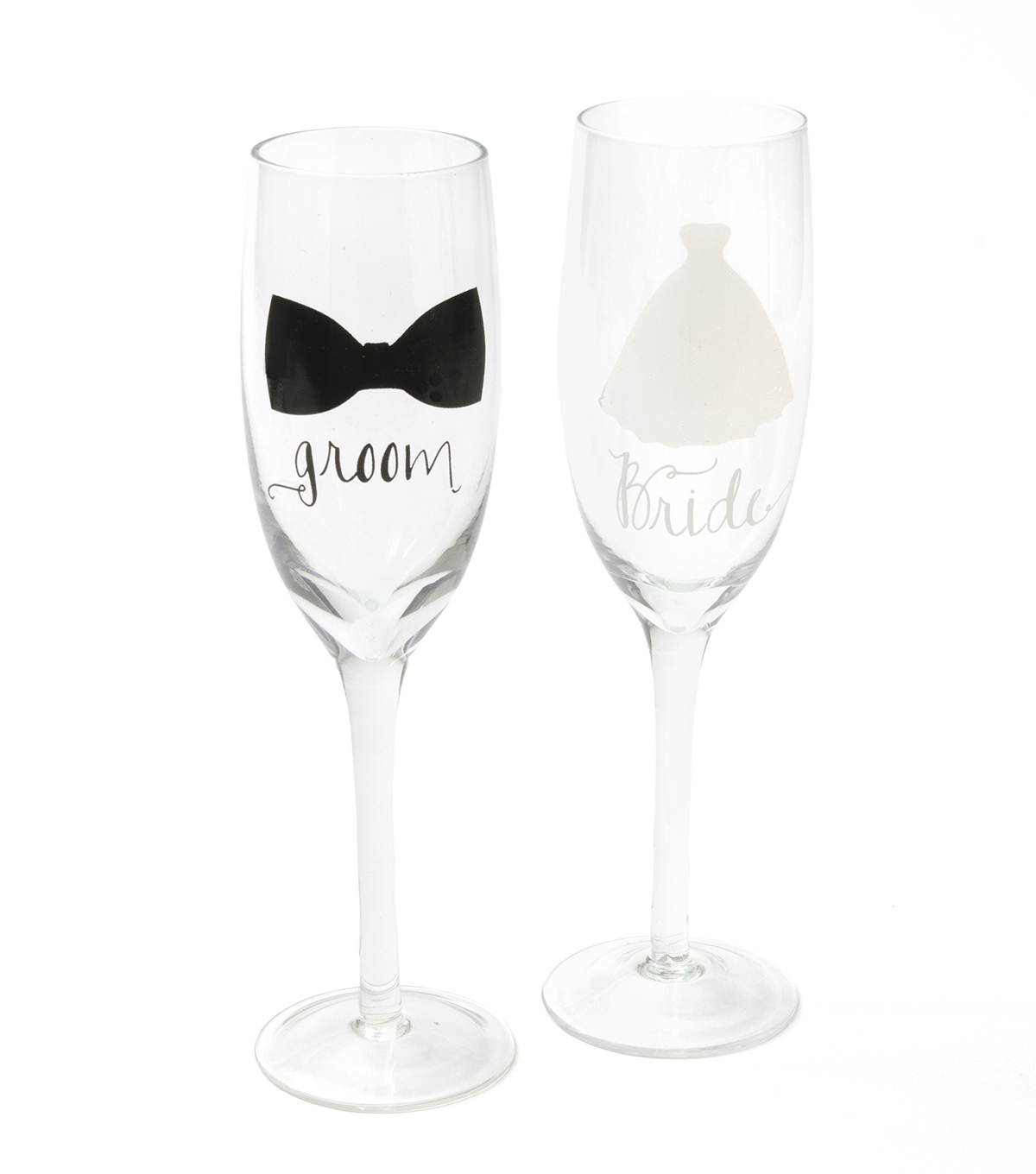 Save The Date™ 2 Pack Toasting Flutes-Bride & Groom