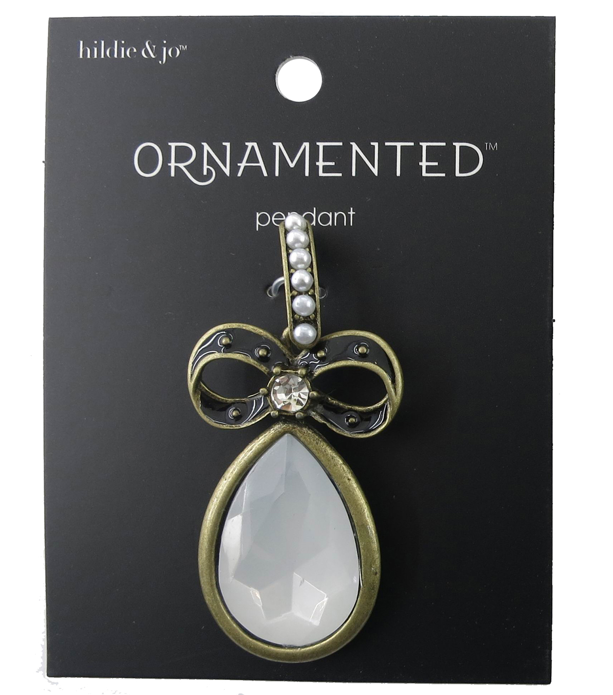 hildie & jo™ Ornamented Bow Antique Gold Pendant-Pearls & Crystals