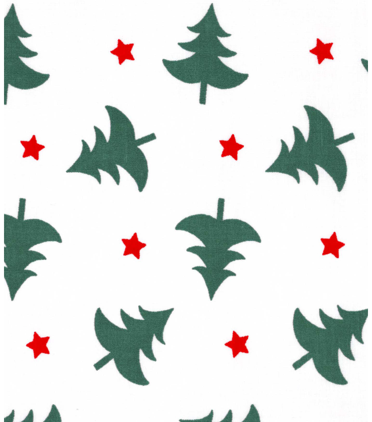 Holiday Showcase™ Christmas Cotton Fabric 43''-Christmas Trees & Stars on White