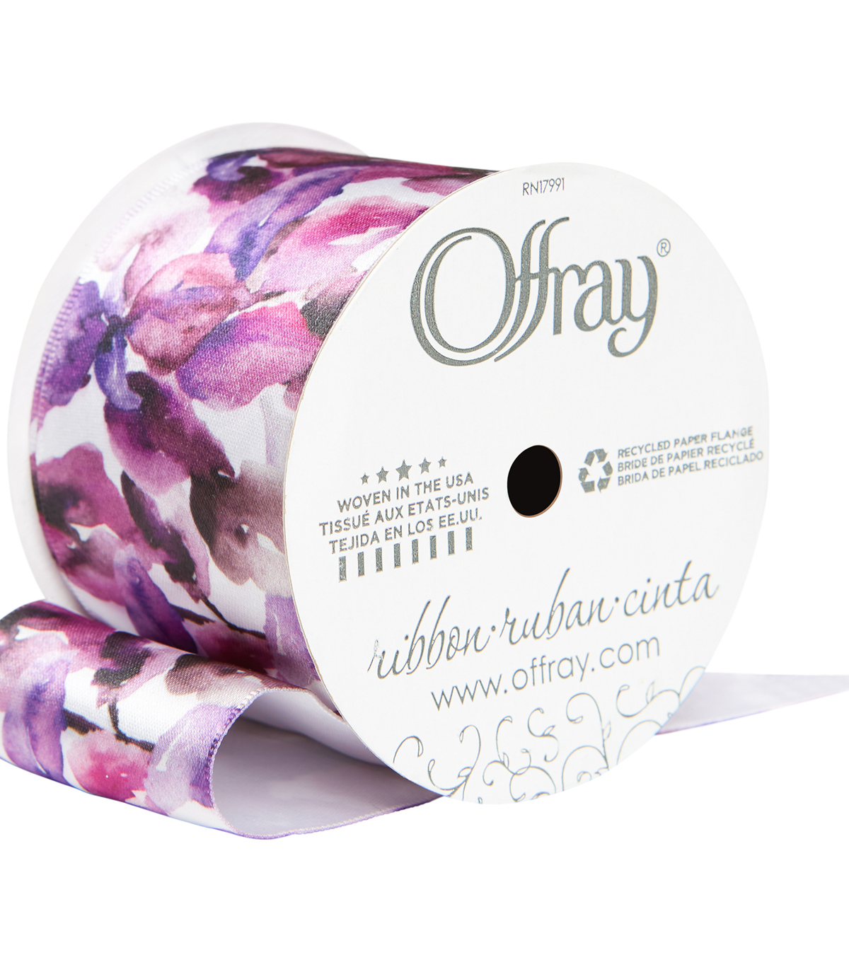 "Offray 2.25""x9'Vivid Violet Floral Satin Wired Edge Ribbon-Purple"