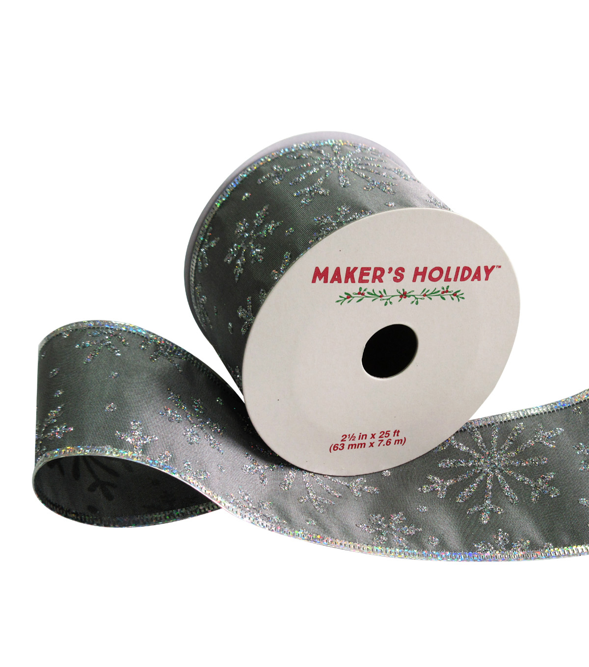 Maker\u0027s Holiday Satin Ribbon 2.5\u0027\u0027x25\u0027-Gray & Silver Glitter Snowflake