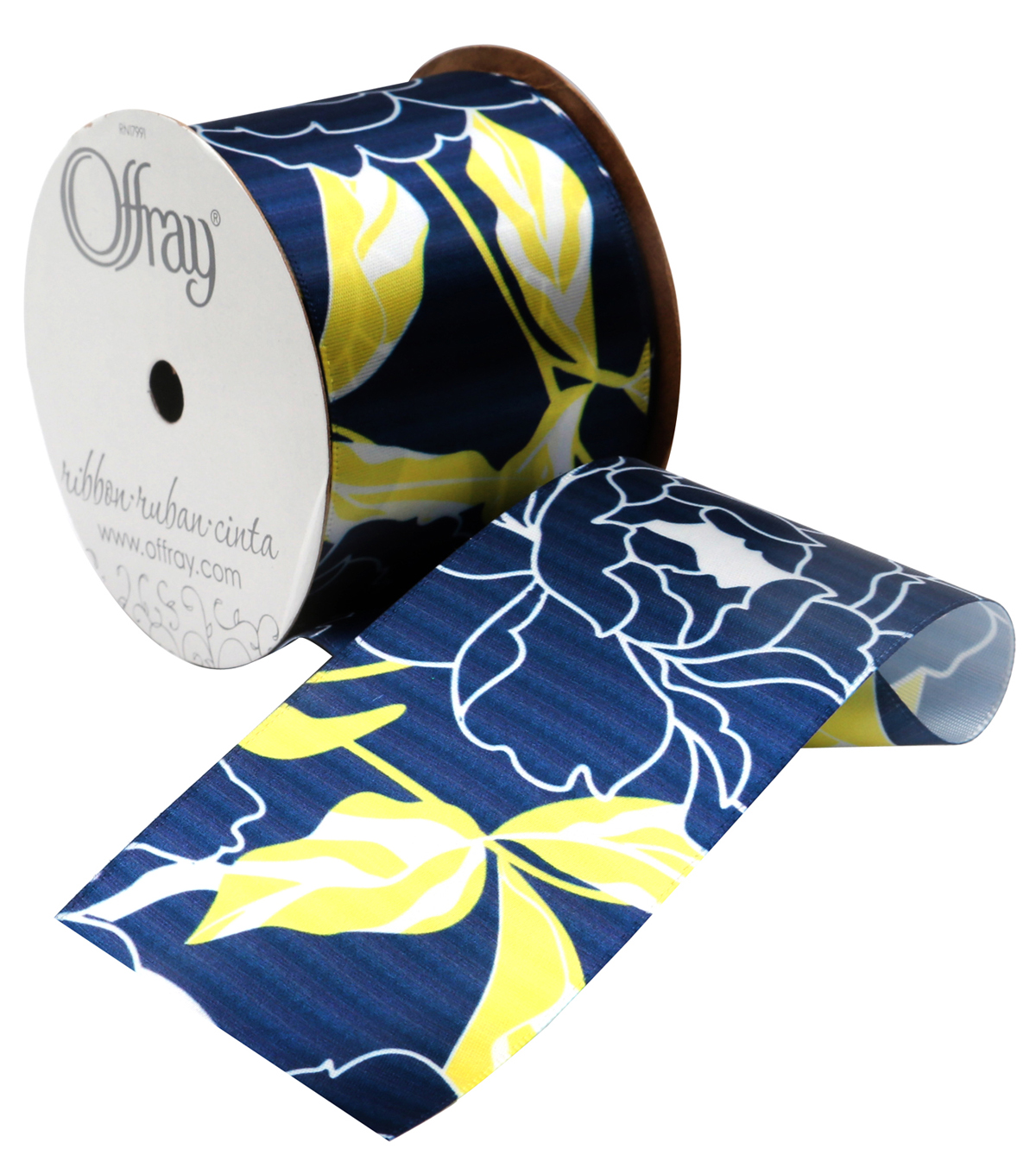 "Offray 2.25"" Ribbon-True Blue Floral"