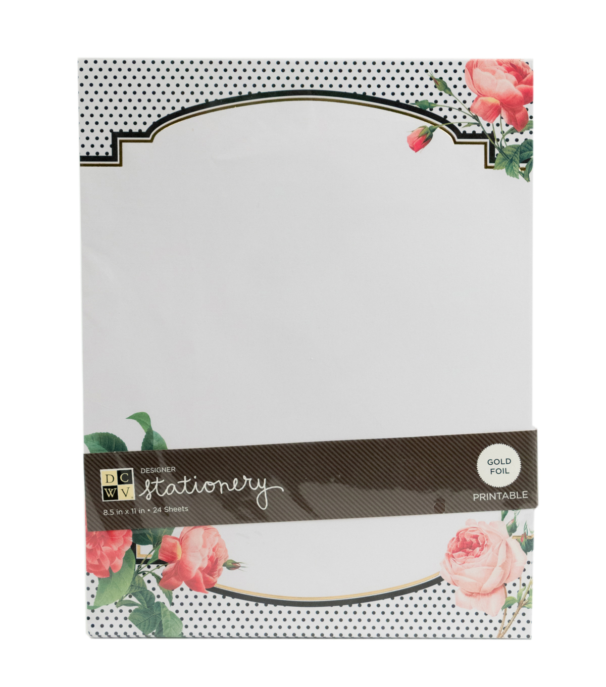 DCWV 8-1/2\u0022x11\u0022 Designer Printable Stationery: Roses and dots