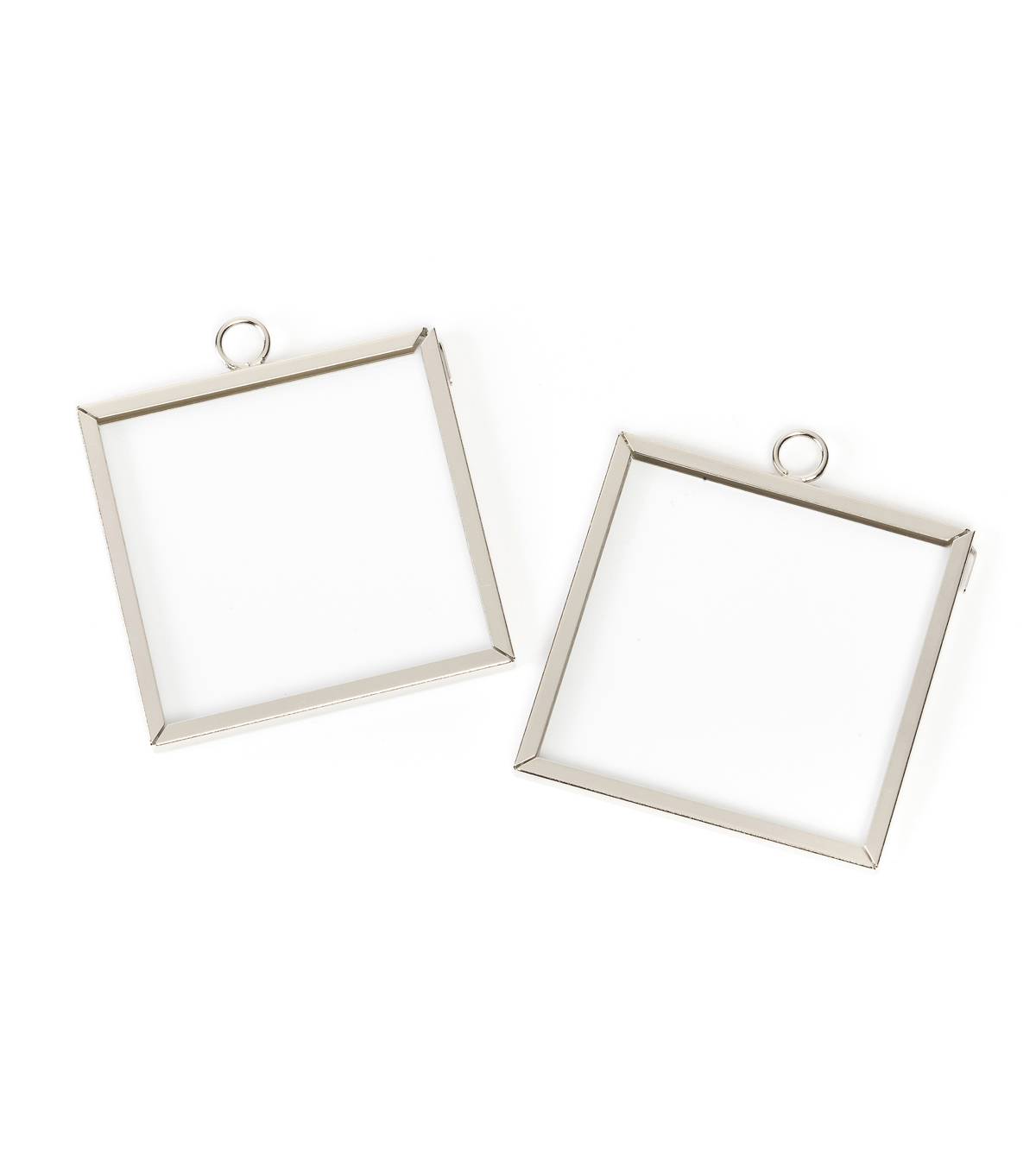 mini frame charm square silver 2 x 2 inches 2pcs - Mini Frame