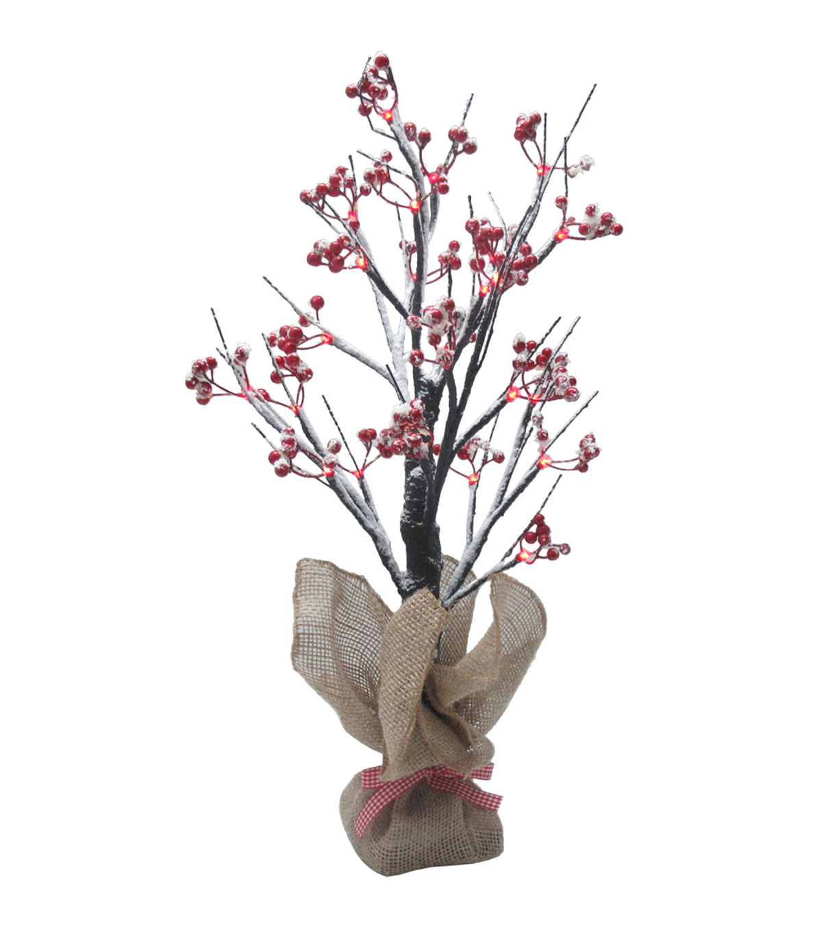 Maker\u0027s Holiday 2\u0027 Pre-Lit Red Berry Artificial Tree